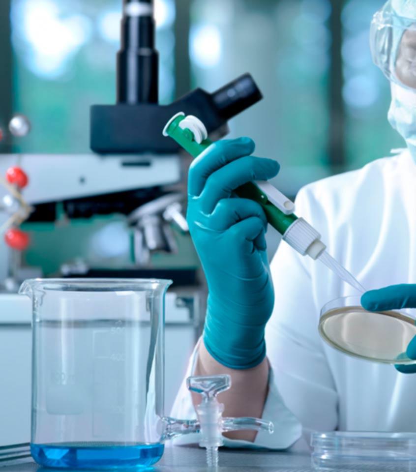 Trabajando con reactivos químicos y cristalería de laboratorio